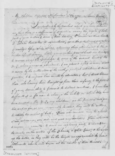 Thomas Jefferson to Cherokee Deputies, January 9, 1809, with Copy