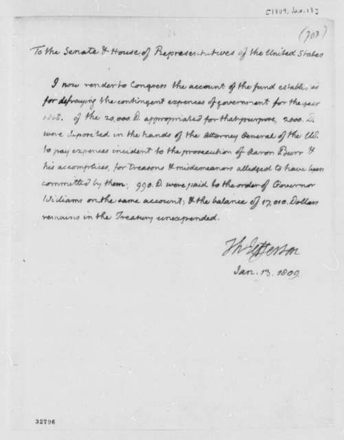 Thomas Jefferson to Congress, January 13, 1809