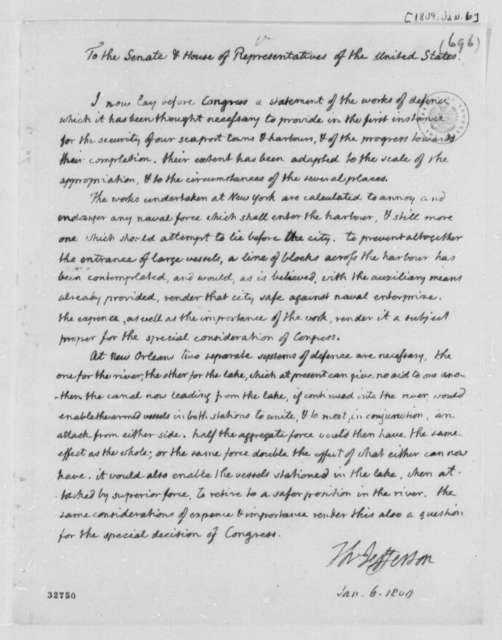 Thomas Jefferson to Congress, January 6, 1809