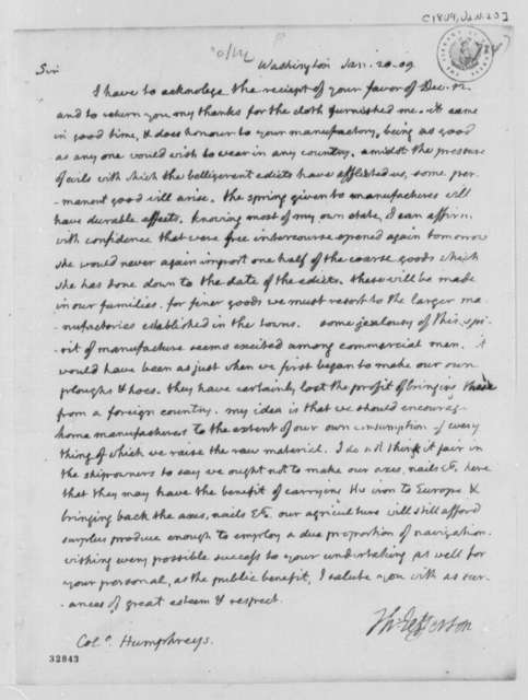 Thomas Jefferson to David Humphreys, January 20, 1809