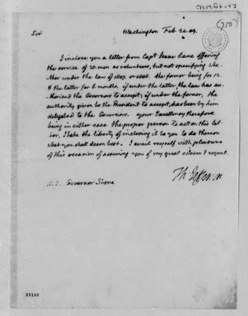 Thomas Jefferson to David Stone, February 24, 1809