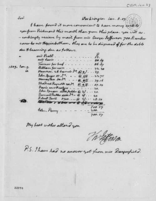 Thomas Jefferson to Edmund S. Bacon, January 8, 1809, with Account List