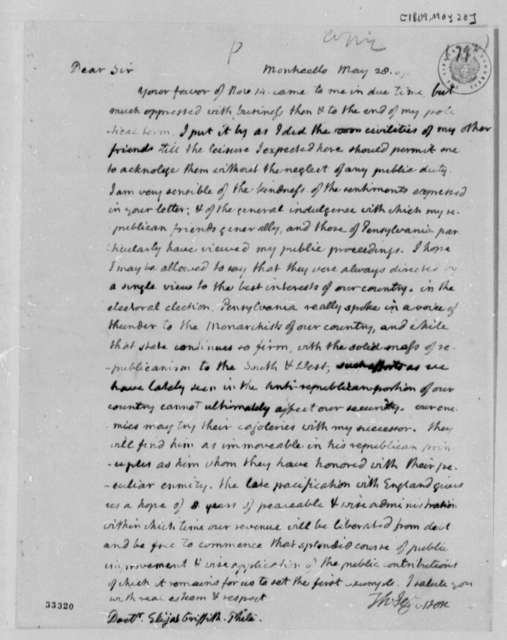 Thomas Jefferson to Elijah Griffiths, May 28, 1809