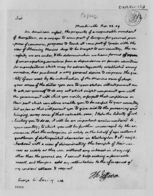 Thomas Jefferson to George W. Erving, November 23, 1809