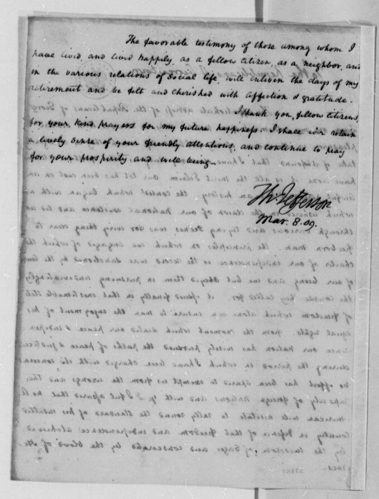 Thomas Jefferson to Georgetown, D. C., Republicans, March 8, 1809