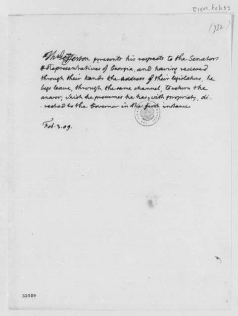 Thomas Jefferson to Georgia Senators and Representatives, February 3, 1809