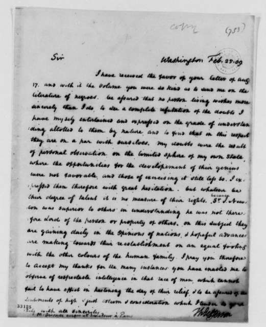 Thomas Jefferson to Henri Gregoire, February 25, 1809