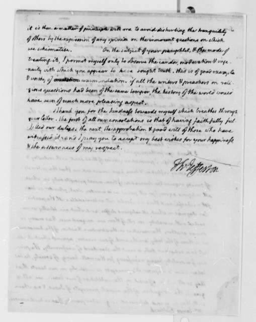 Thomas Jefferson to James Fishback, September 27, 1809, with Copy, Not Sent