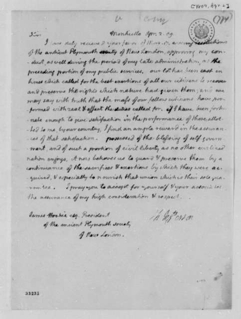 Thomas Jefferson to James Hockie, April 2, 1809