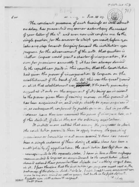 Thomas Jefferson to James Mease, January 15, 1809