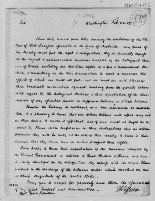 Thomas Jefferson to James Robertson, February 24, 1809