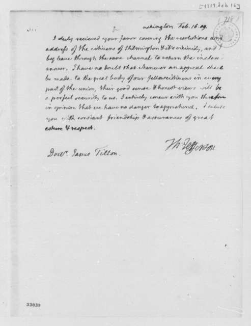 Thomas Jefferson to James Tilton, February 16, 1809