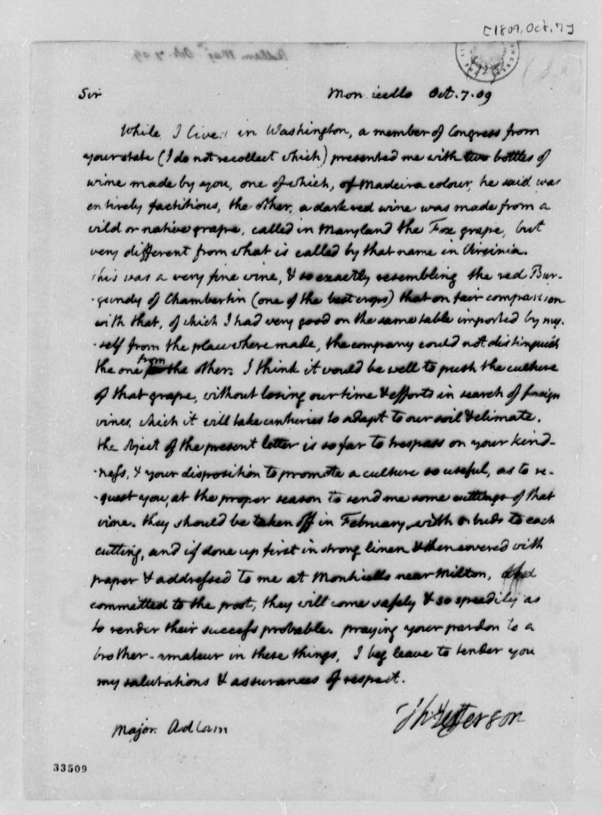 Thomas Jefferson to John Adlum, October 7, 1809