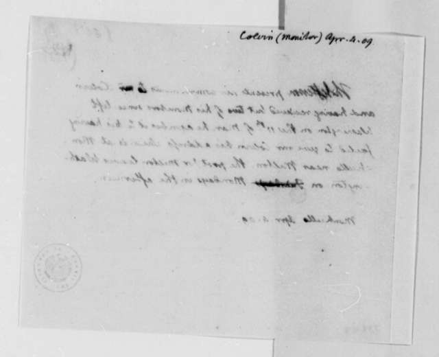 Thomas Jefferson to John B. Colvin, April 4, 1809