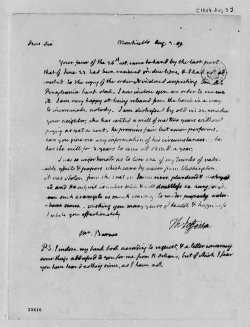 Thomas Jefferson to John S. Barnes, August 3, 1809