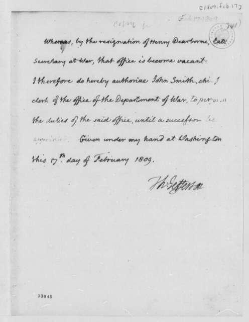 Thomas Jefferson to John Smith, February 17, 1809, Authorization