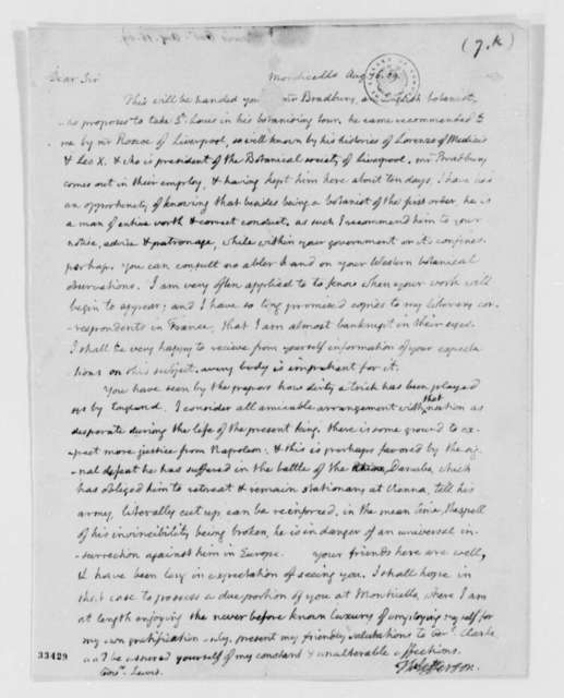 Thomas Jefferson to Meriwether Lewis, August 16, 1809