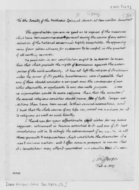 Thomas Jefferson to New London, Connecticut, Society of the Methodist Episcopal Church, February 4, 1809