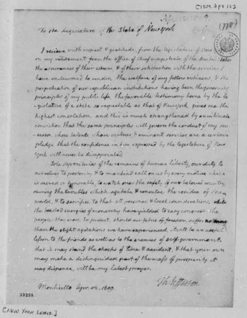Thomas Jefferson to New York Legislature, April 12, 1809