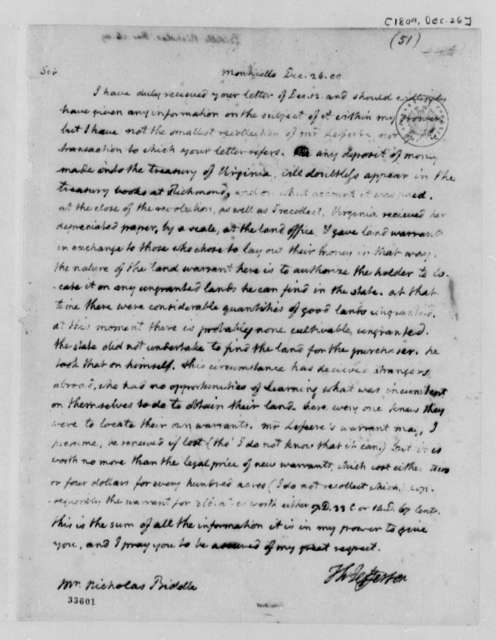 Thomas Jefferson to Nicholas Biddle, December 26, 1809