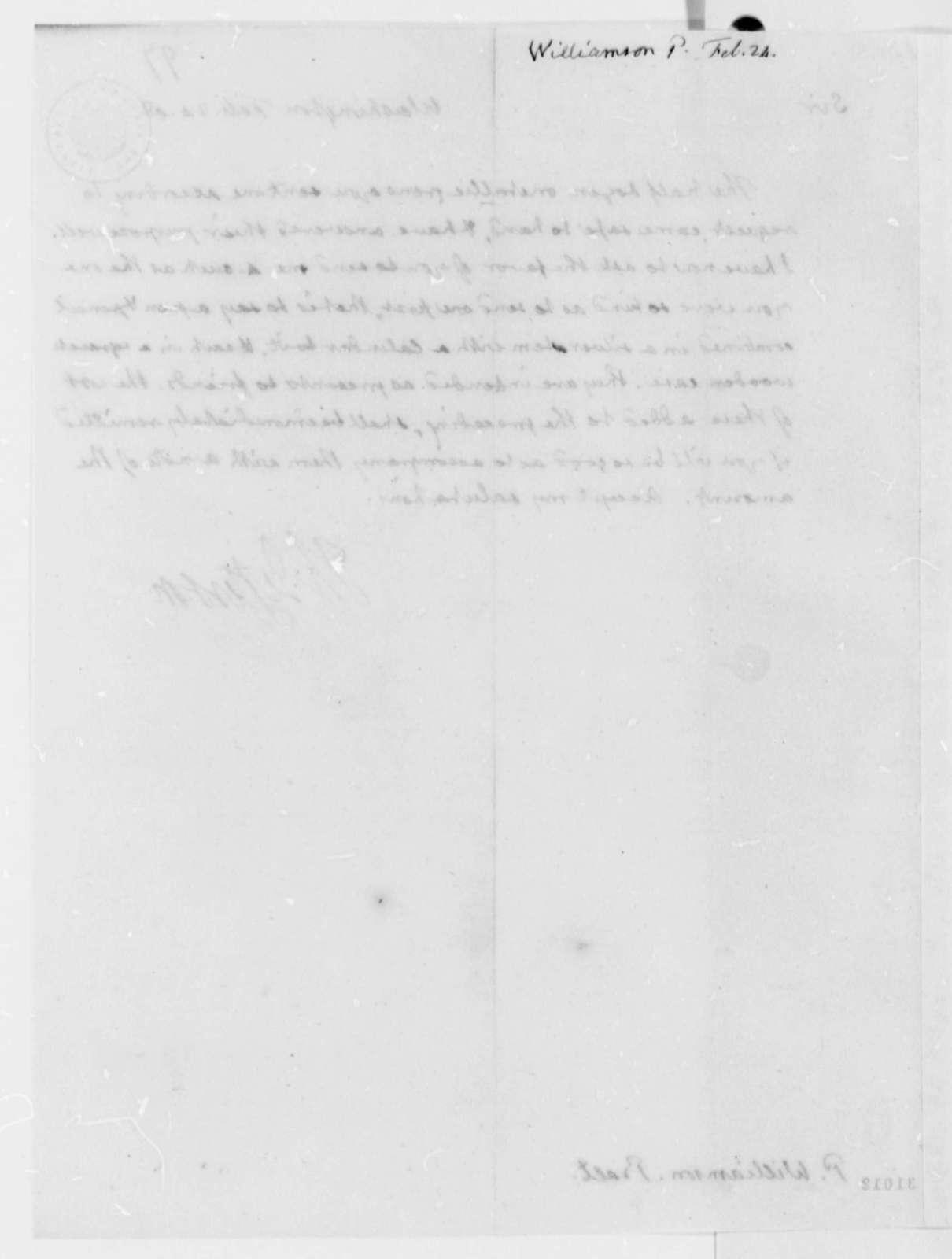 Thomas Jefferson to P. Williamson, February 24, 1809