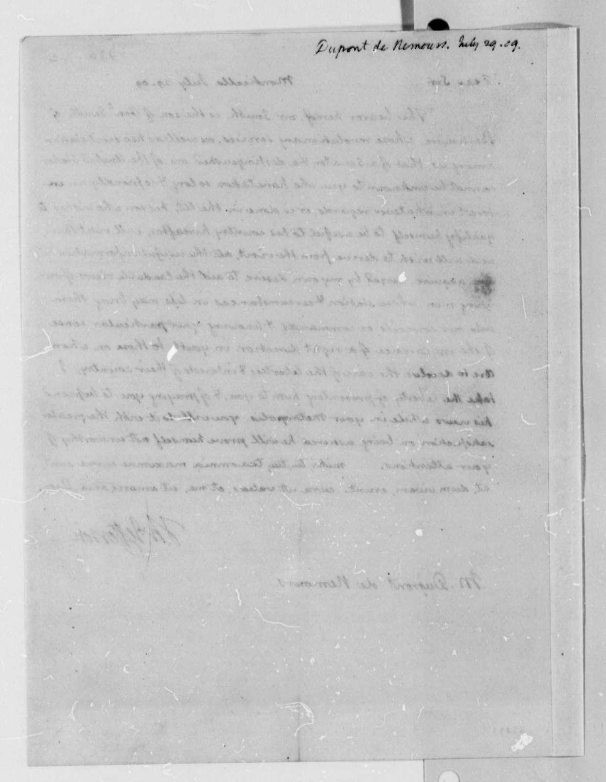 Thomas Jefferson to Pierre S. Dupont de Nemours, July 29, 1809