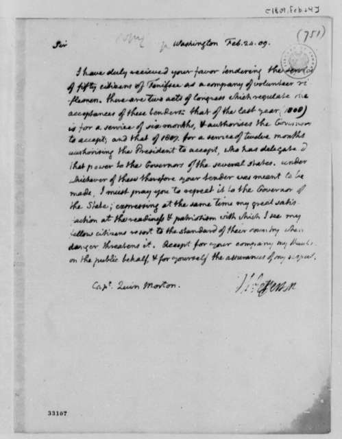 Thomas Jefferson to Quin Morton, February 24, 1809