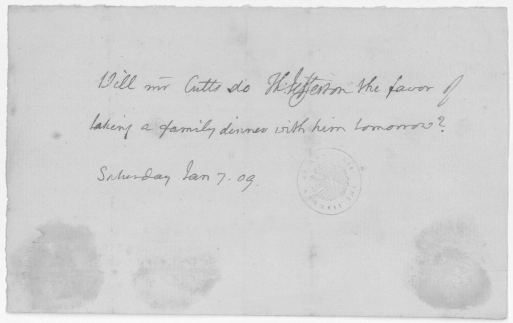 Thomas Jefferson to Richard Cutts, January 7, 1809