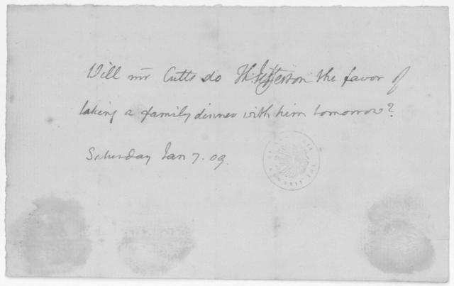 Thomas Jefferson to Richard Cutts, January 7, 1809