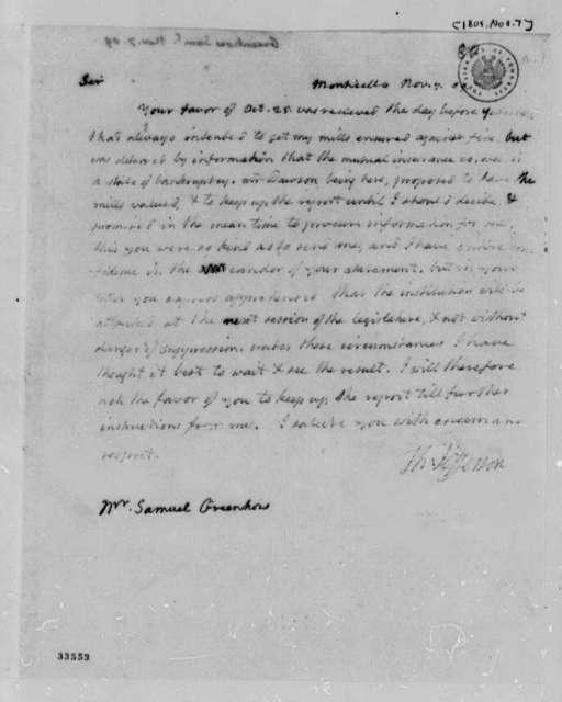 Thomas Jefferson to Samuel Greenhow, November 7, 1809
