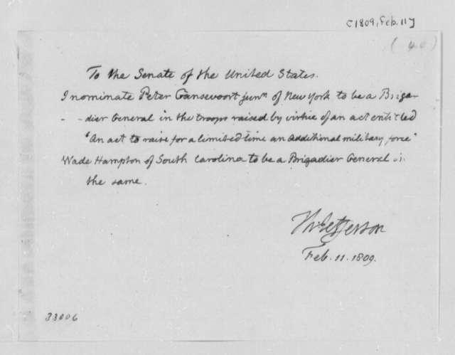 Thomas Jefferson to Senate, February 11, 1809, Nominations