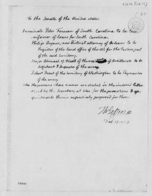 Thomas Jefferson to Senate, February 17, 1809, Nominations