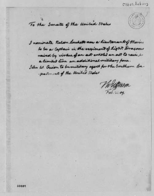 Thomas Jefferson to Senate, February 21, 1809, Nominations
