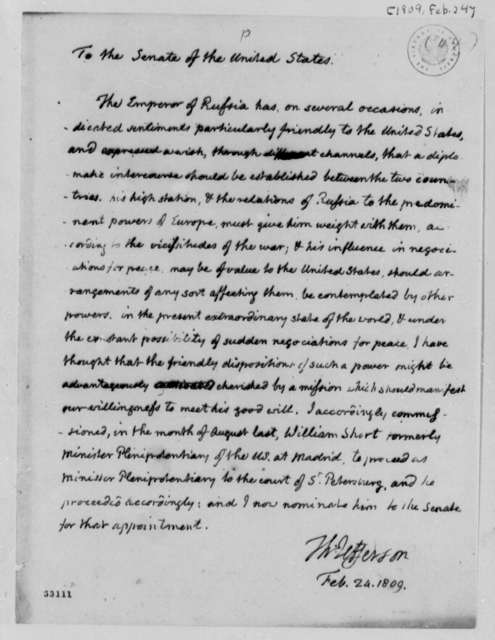Thomas Jefferson to Senate, February 24, 1809, Nomination