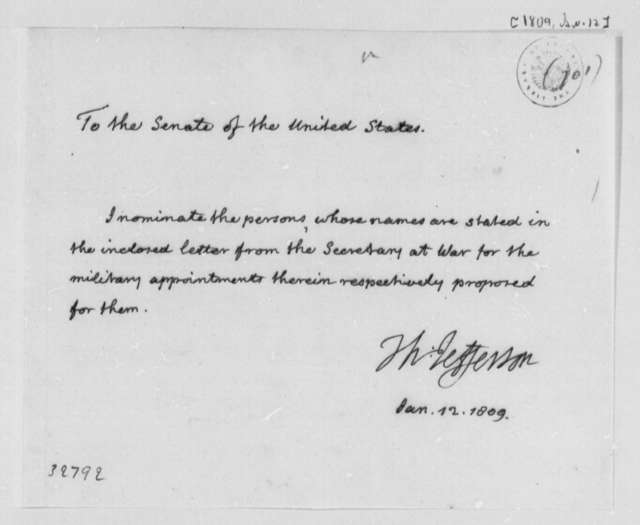 Thomas Jefferson to Senate, January 12, 1809, Nominations