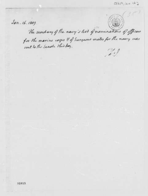 Thomas Jefferson to Senate, January 16, 1809, Nominations