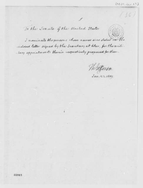 Thomas Jefferson to Senate, January 23, 1809, Nominations