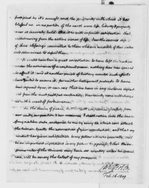 Thomas Jefferson to Virginia General Assembly, February 16, 1809, Polygraph Copy