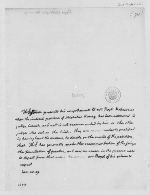 Thomas Jefferson to Washington Boyd, January 20, 1809