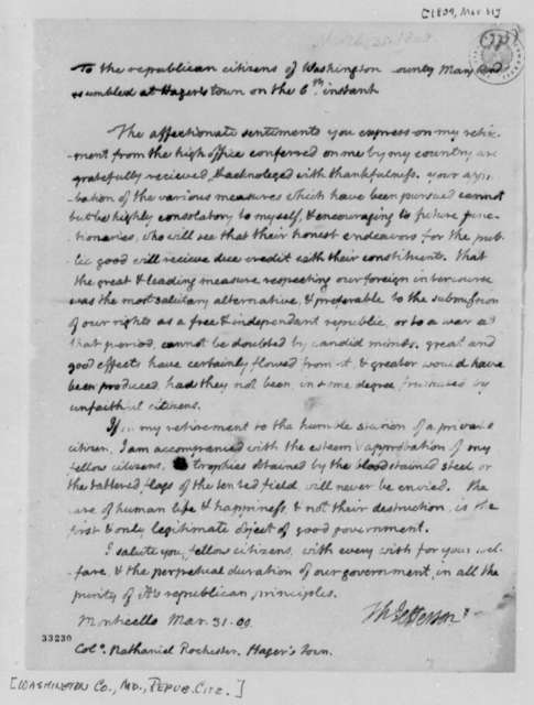 Thomas Jefferson to Washington County, Maryland, Republican Citizens, March 31, 1809