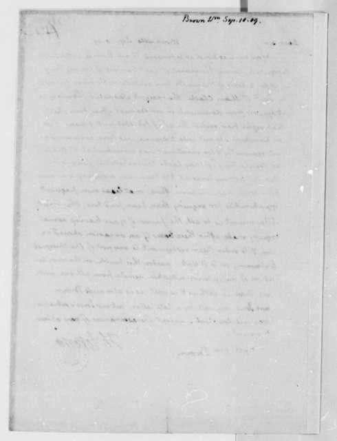 Thomas Jefferson to William Brown, September 10, 1809