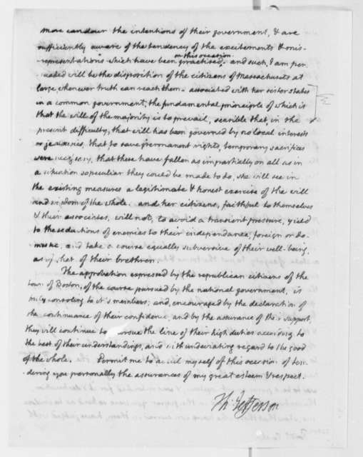 Thomas Jefferson to William Eustis, January 14, 1809