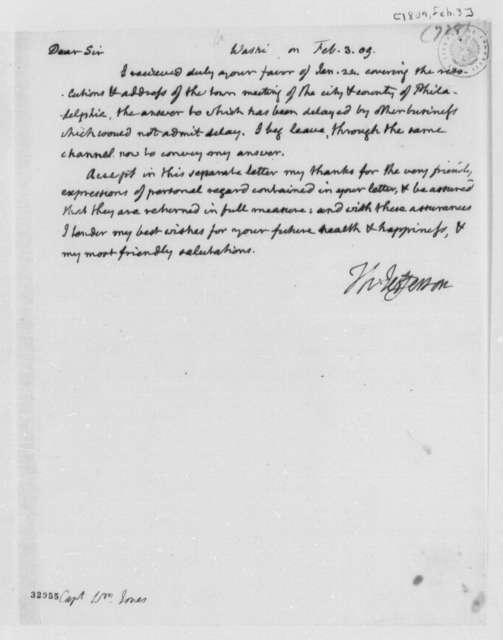 Thomas Jefferson to William Jones, February 3, 1809