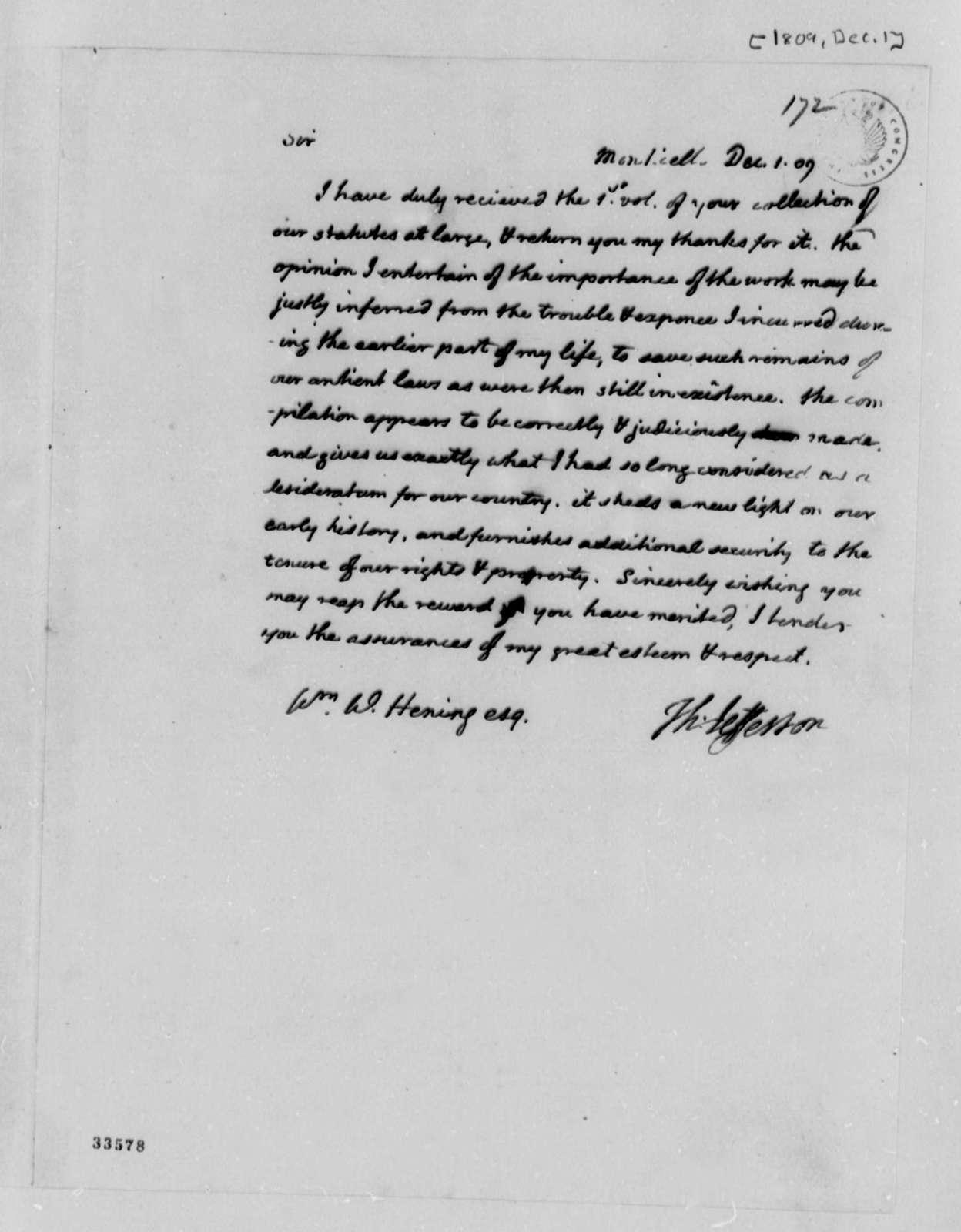 Thomas Jefferson to William Waller Hening, December 1, 1809