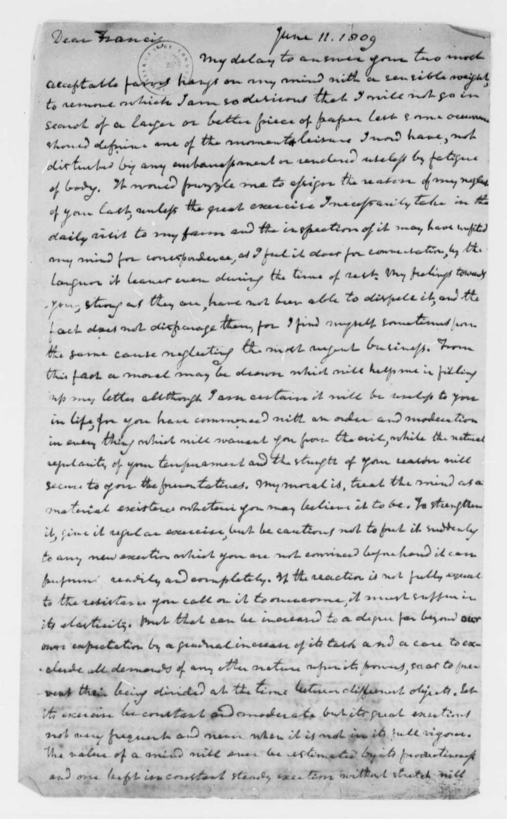 Thomas Mann Randolph, Jr. to Francis W. Gilmer, June 11, 1809