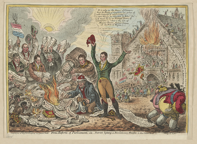 True reform of Parliament,--i.e.--patriots lighting a revolutionary-bonfire in new Palace Yard / Js. Gillray, inv. & fect.