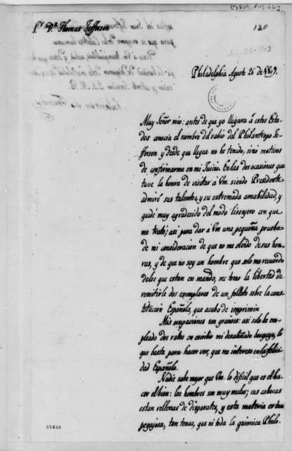 Valentin de Foronda to Thomas Jefferson, August 26, 1809, in Spanish