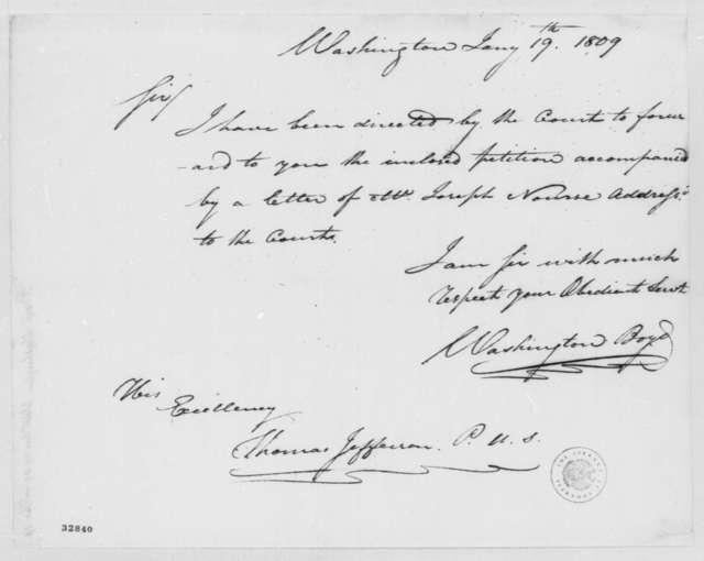 Washington Boyd to Thomas Jefferson, January 19, 1809