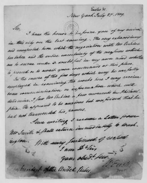 William Eustis to James Madison, July 27, 1809.