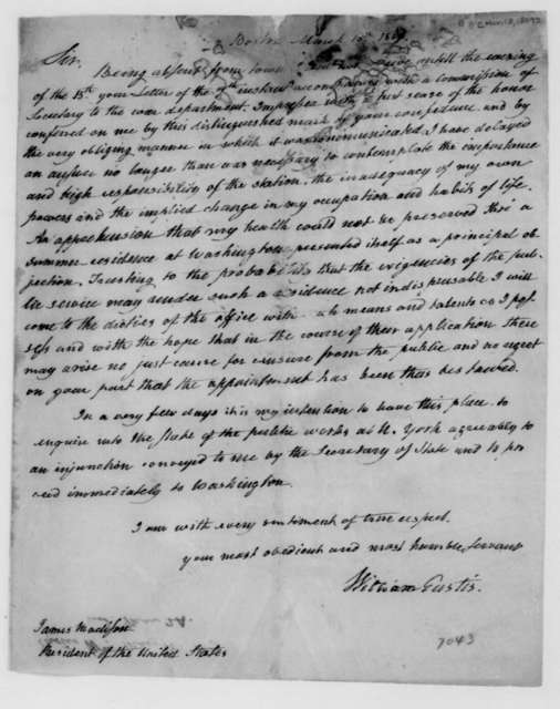 William Eustis to James Madison, March 18, 1809.